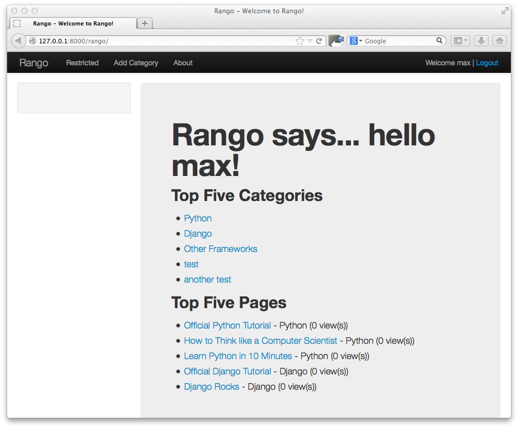 11 bootstrapping rango how to tango with django imagesch11 bootstrap index initialg falaconquin